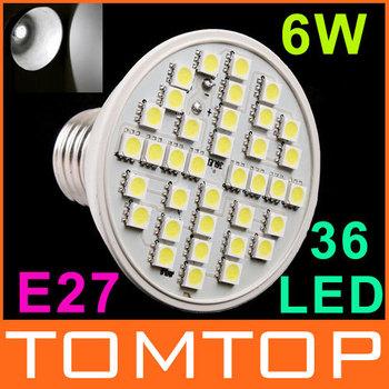 220V led spotlight 6W E27 36 LED Bulb Lamp White lighting free shipping