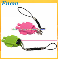 Free shipping by HK POST Fashion USB Card Reader, Android Robot Doll Mobile Phone Pendant Micro SD Card Reader Colorful