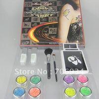 Wholesale glitter tattoo kit 8 Colors Supply Kit  Body Painting Tattoo DeluxeSet Fluorescent Panting FBK8