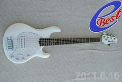 Wholesale 5 strings bass white Music bass white stingray with white pearloid pick guard electric bass HOT free shipping 2011(China (Mainland))