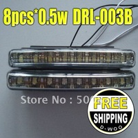 New  Hot sell  8pcs*0.5w*2pcs  Toatal 8w  Good Price  Free Shipping Car Led DRL Lights  Auto Led Daytime Light