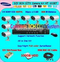 8camera CCTV kits, CCTV system, dvr cctv cameras 500GB HDD HT-6108T