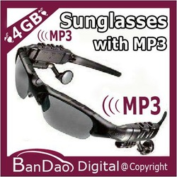 Sports Sunglasses with 4GB MP3 Player Headphone Headset mp3 glasses(China (Mainland))