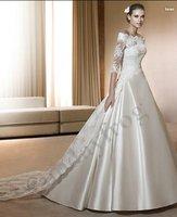 Free Shipping Custom Make Organza Shawl Lace Long Sleeve Wedding Wrap Chapel Train Bridal Jacket Long Bolero Jacket -Jacket24