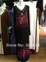 100% guaranteed free shipping,052854 ,long Muslim abaya with embroidered,2012 newest