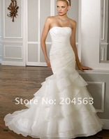Free Shipping Custom Made Strapless Mermaid Wedding Dress with Beads
