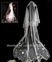 Free shipping new fashion 1T ivory long bride veil wedding accessories bridal petals long 3m 1 tier veil  no combs hot selling