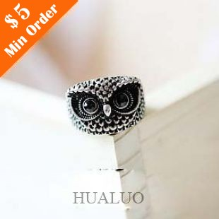 Retro Cute Owl Ring,Metal Finger Ring (Antique Silver) R30
