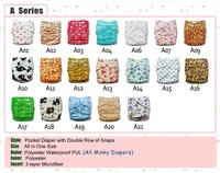 Double row snaps Alva baby cloth diaper reusable All in one size 50pcs baby cloth diaper cover + 50pcs inserts  series A