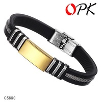 OPK JEWELRY SILICONE and STAINLESS STEEL BRACELET silicon wrisband silicone bangle 2 color free shipping 880