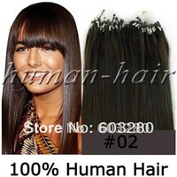 "Indian remy human hair micro rings/links/loops hair extension 16""18""20""22""24"" long 40g/50g/60g/70g #2 Dark brown 100strands"