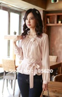 2014 Summer new fashion women ladies tops long sleeve summer shirts Chiffon blouse girls colthing