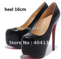 Fashion Sexy 14 16cm heel ladies shoes wedding Daffodile Genuine leather platforms women's pumps Nude/Black Plus size 34-45
