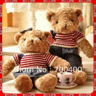 "Free Shipping! 80cm plush bear,32"" sweater bear + jeans skirt/pants, Boys & Girls Birthday Gift, Valentine Gifts!"