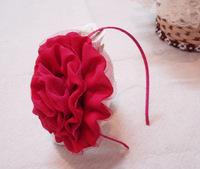 "12pcs/lot, 5"" big chiffon rosette flower headband alice band AJB-0018, free shipping (yellow orange)"