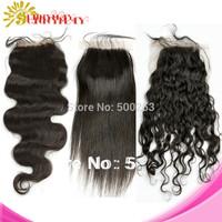 Free Shipping Brazilian Virgin Human Hair  Top Lace Closure Body Wave Loose Wave Deep Curly