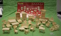 1:24 Lovely 34PCS 3Dwoodcraft wooden dollhouse doll house furniture kit good gift