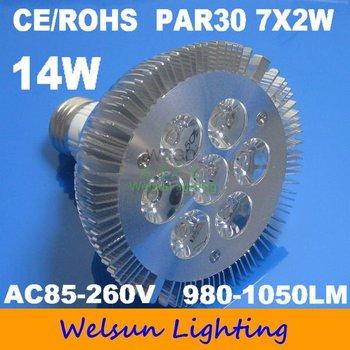 100pcs/pack High Power 7*2W 14W Cool White PAR30 flood light Lamp Bulb Light Energy-saving