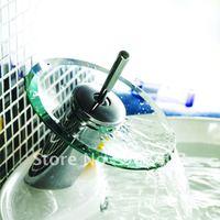 Freeshipping brass basin faucet, glass waterfall faucet, bathroom mixer tap, chrome bathroom mixer tap 62413