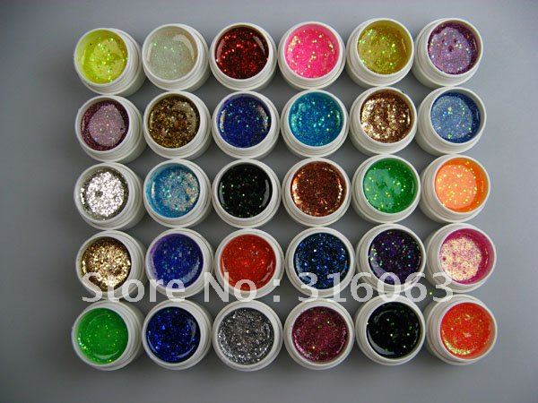 Hot Sell 5ml/pcs 30PSC/Set Colorful UV Gel Set Glitter paillette Shining For Decoration Nail Art NA949(China (Mainland))