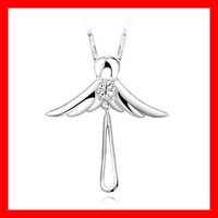 Free Shipping wholesale 925 Sterling Silver Lovely angel wings Charm Pendant