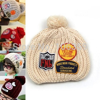 children winter hand knitted hat with label baby crocheted cap infant beanie baby linecaps free shipping