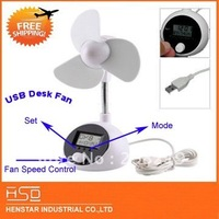 Free Shipping White Mini USB Laptop PC Cooler Cooling Fan with Time Date Week Temperature