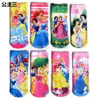 Free shipping Princess Children's girl's socks,Printed socks,famous cartoon character socks,Snow white princess Children's Socks