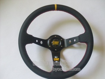 OMP 14 inches leather Sport Steering Wheel, racing steering wheel for Modified Car , Sports Car--Show Your Style