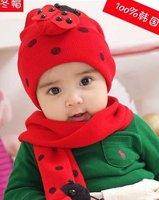 Ladybug/Ladybird Baby hat and scarf set DR.CAP HATS  Beetle set newborn photography props #2C2503 10 set/lot (4 COLORS)