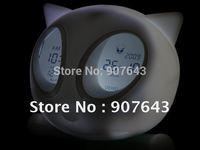 Novelty Glowing Cat Led Color Change Digital Alarm Clock,Fashion LED Colok,Free Shipping