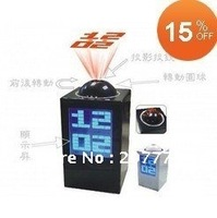 Freeshipping Digital Projector clock LED Clock Time Projection clock black/white With Retail Box