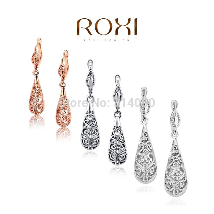ROXI Sale rose gold drop earrings Nickle free antiallergic fashion jewelry earrings Hollow out elegant 3