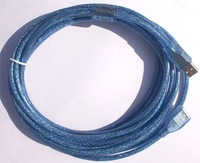 Transparent blue USB2.0 AM to AF Cable With one filter