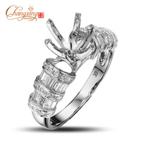 Round 8.5mm Solid 14k White Gold Engagement Semi Mount Ring Setting Resizable Fine Jewelry