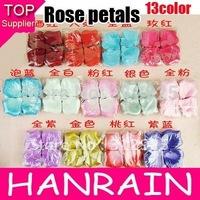 Free shipping Nice 140pcs/pack 13 colors heart silk rose petals wedding petals favors 13packs/lot