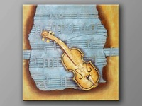 hand-painted Music violin  High Q. Decoration Modern Abstract Oil Painting on canvas 16x20inch mixorde ready to hang Framed
