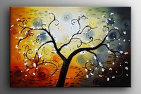 hand-painted White Rich tree wallHome Decoration Modern Abstract Oil Painting on canvas 16x20inch framed wood  Framed framed