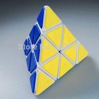 QJ Pyraminx Magic Cube with Plastic Tile - White Speed Cube Puzzle