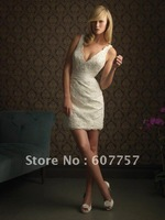 2014 Hot Sale Short Style Wedding Dresses Double Straps V-neck White Lace Above Knee-length Bridal Dresses W503