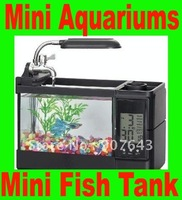 NEW 2012 USB Desk mini Fish aquariums mini fish tank with calender & pen holder With pumming to auto cycling water Freeshipping