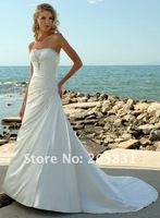 Wholesale 2013 New Free Shipping ! A line White Strapless Court Train Crystals Taffeta Beach Wedding Dresses OW002121