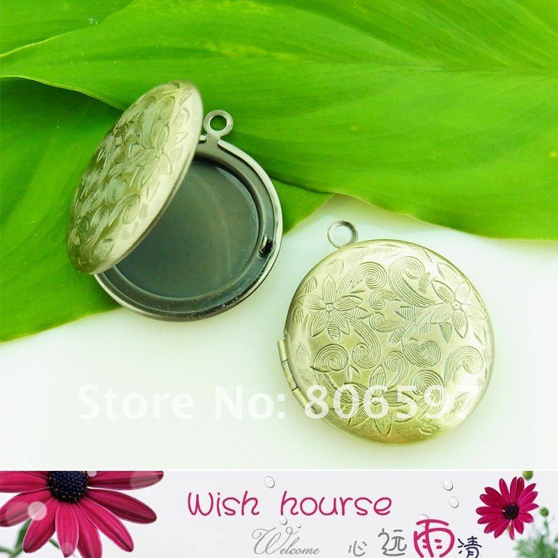WHL009,,free shipping wholesale to European countries 27mm anitque bronze round locket pendants,flower carved round lockets(China (Mainland))