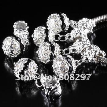 DIY 10mm Charm European Big Hole Dangle Bead Plated Silver Black Rhinestone Jewelry Finding Pendants 100pcs/lot