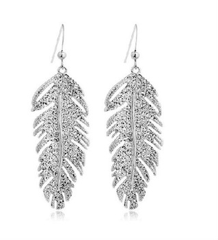 Free Shipping Factory wholesale hot sell fashion style leaf shape rhinestone Earrings,4pairs/lot