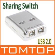 USB 2.0 Sharing Switch Hub 2 PC to 1 Printer/Scanner Newrok Switcher, Free Shipping Wholesale(China (Mainland))