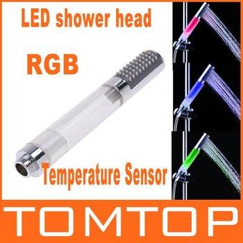 Temperature Sensor Handheld Round Bar RGB Color LED Shower Head H4743,No Need Power,  freeshipping, dropshipping wholesale