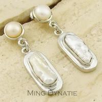Natural Cross Pearl Shell Plated Sliver Earrings BP450