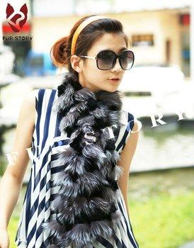 050201S Cut Silver fox fur c/w rex rabbit fur scarf wrap cape shawl best christmas gift silver gray color