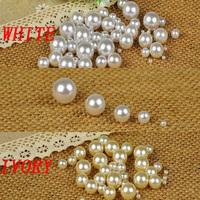 Free shipping no hole round pearls white  no hole imitation pearls craft art diy beads